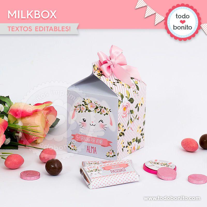 Caja MilkBox imprimible Kit Conejos Todo Bonito