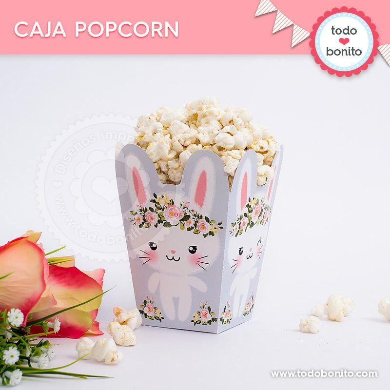 Caja popcorn para imprimir de conejitas