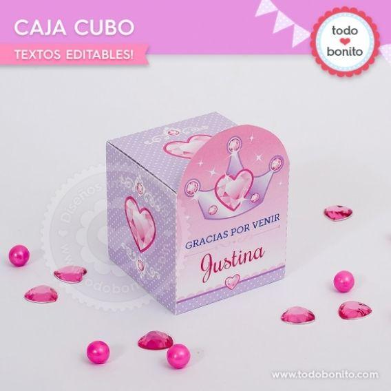 Imprimible Caja Cubo Princesas
