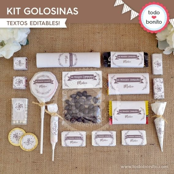 Kit Golosinas Imprimible Kit Rustico Todo Bonito