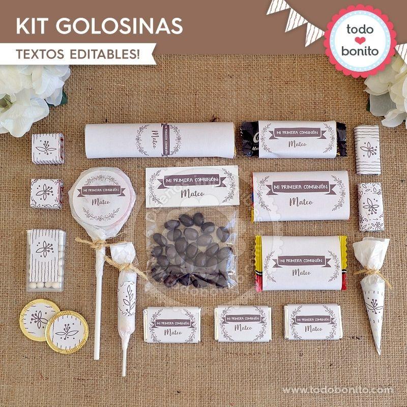 Kit Golosinas Imprimible Rústico Todo Bonito