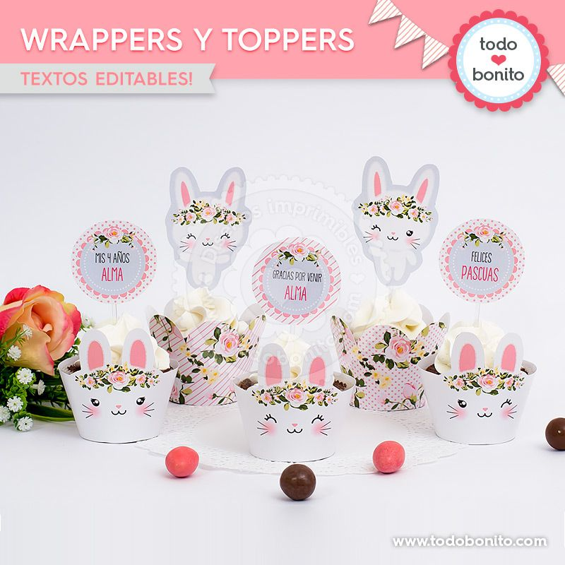 Wrappers y Toppers imprimibles Kit Conejos Todo Bonito