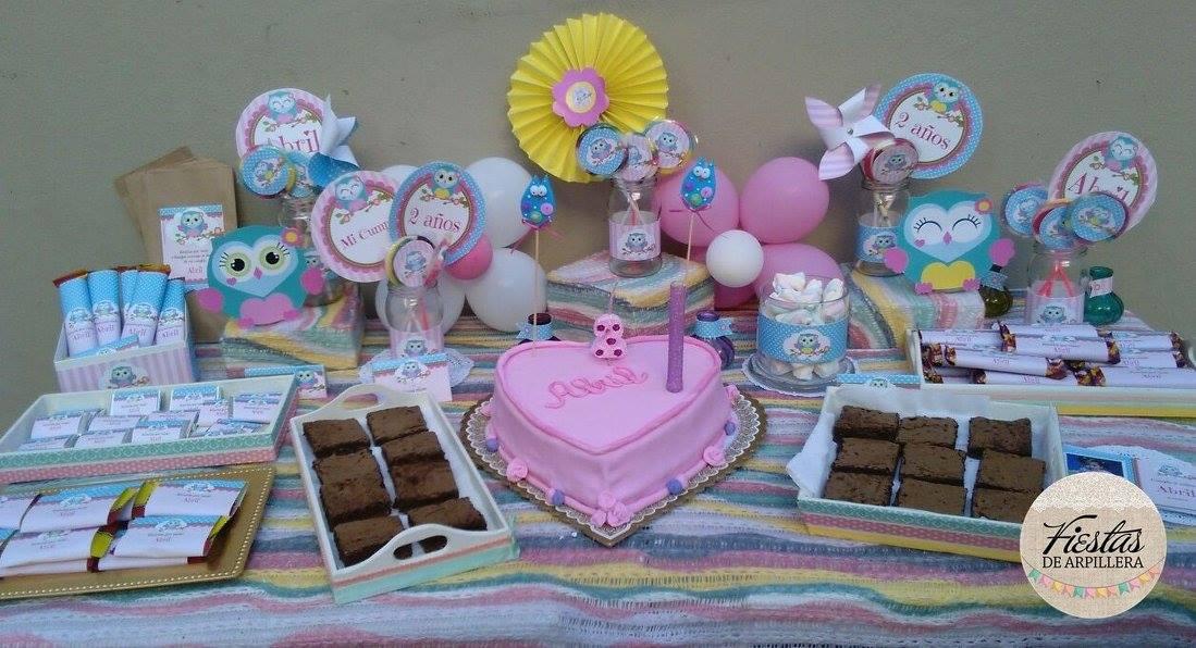 Mesa dulce decorada con Kit Imprimible Búhos Todo Bonito