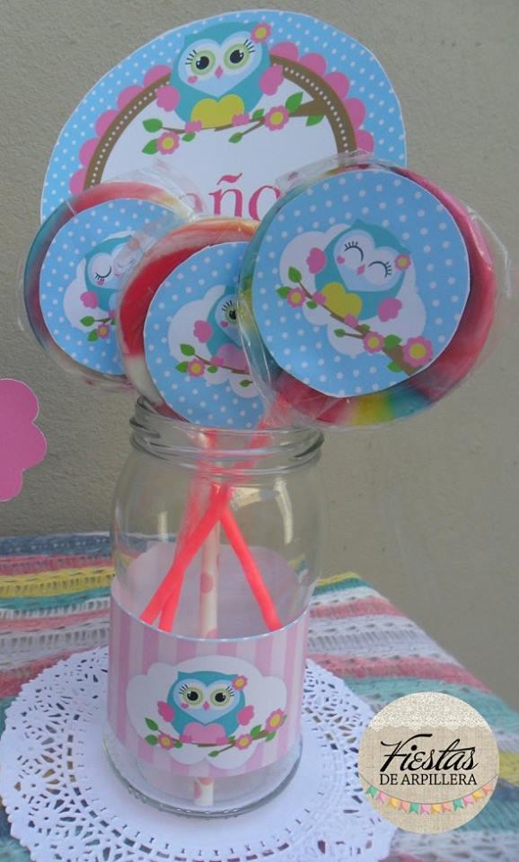 Paletas dulces decoradas Kit Búhos Todo Bonito