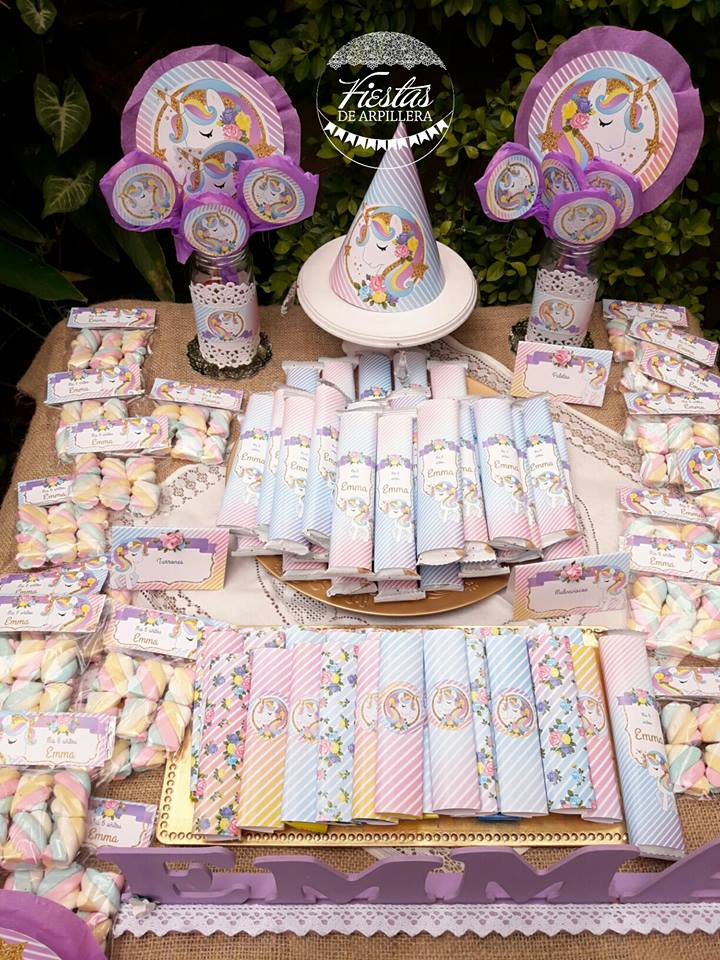 Golosinas mesa dulce exterior unicornios