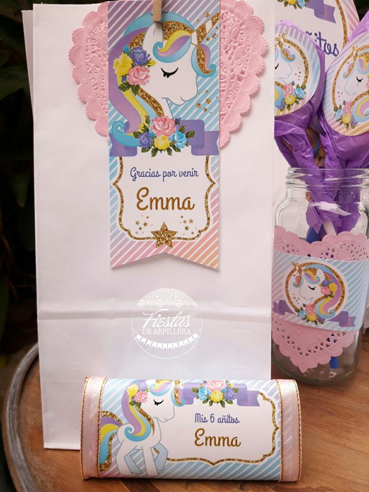 Bolsa decorada y golosina unicornios Todo Bonito