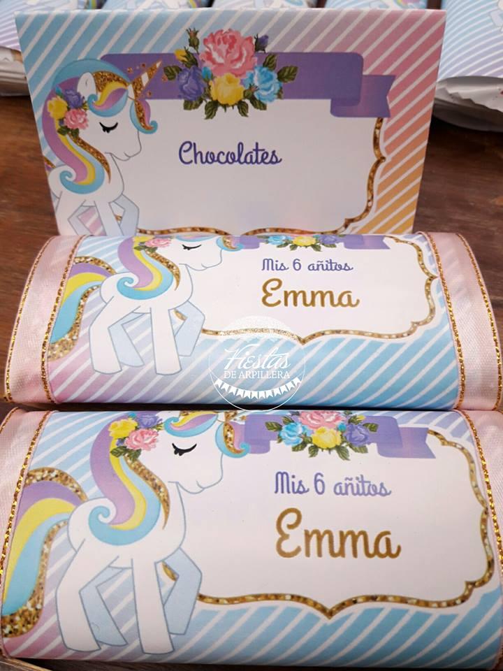 Chocolatines decorados unicornios todo bonito