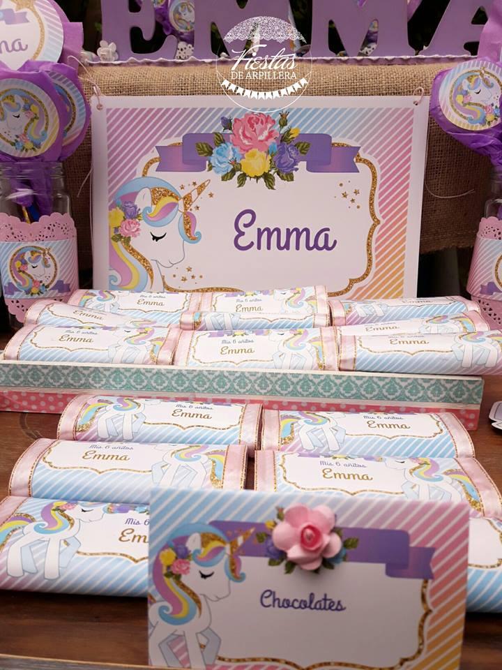 Deco mesa exterior cumple Emma Unicornios Todo Bonito
