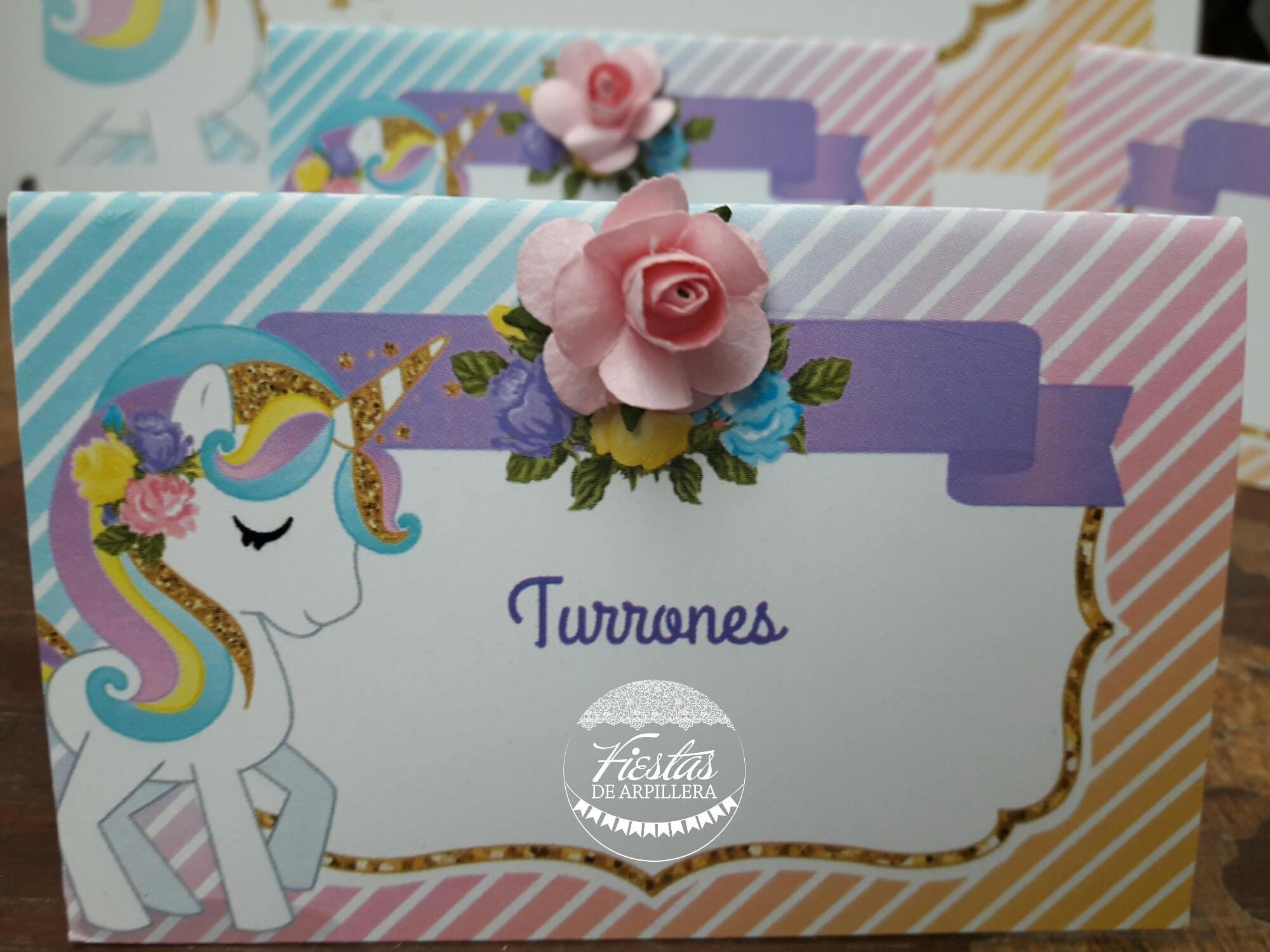 Cartelitos de comida unicornios