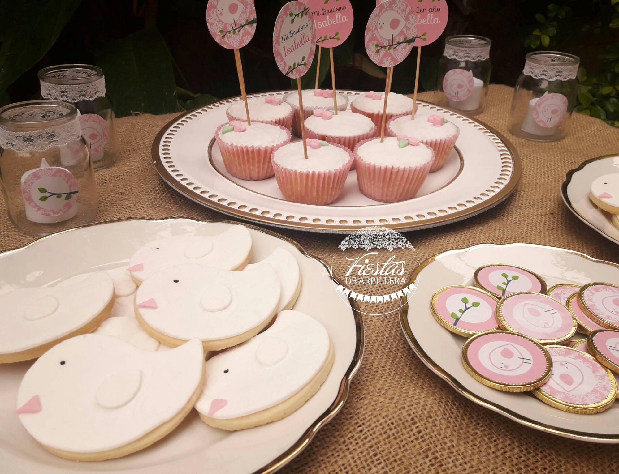 Galletitas decoradas, cupcakes y moneditas de chocolate con kit pajaritos