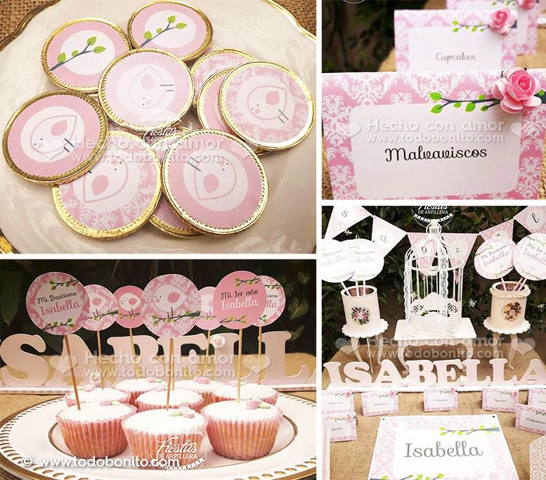 Decoraciones Imprimibles Kit Pajarito Rosa de Todo Bonito