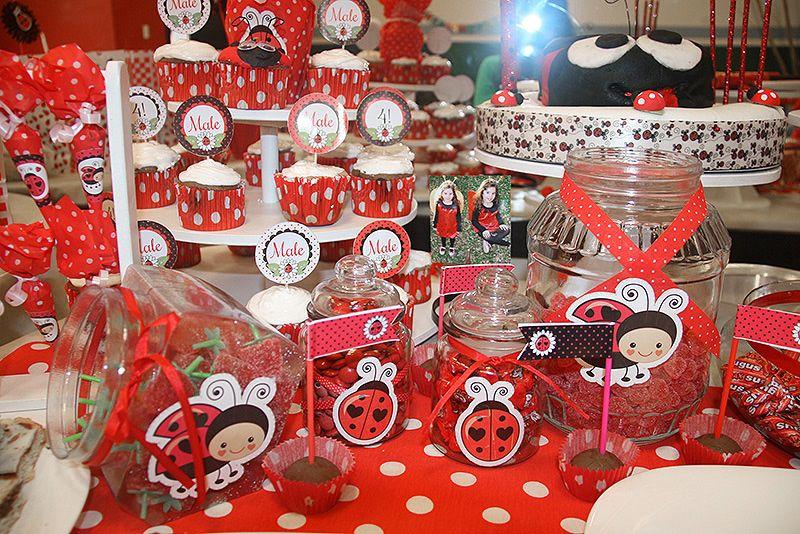 Detalle mesa dulce decorados Ladybug