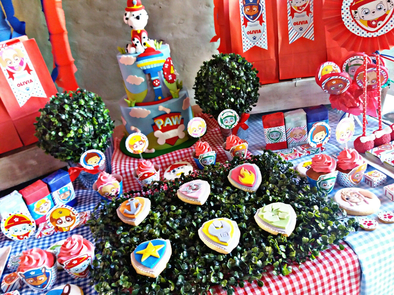 Delicias Mesa dulce decorada Cachorros Paw Patrol