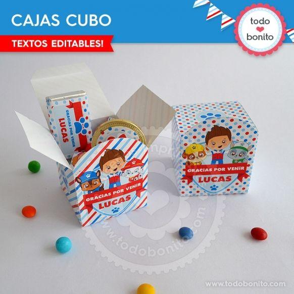 Caja Cubo Kit Imprimible Cachorros Paw Patrol Todo Bonito