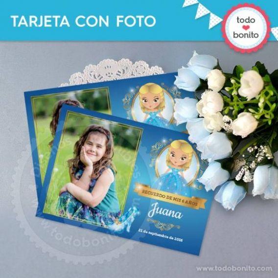 Tarjeta con Foto Imprimible Cenicienta Todo Bonito