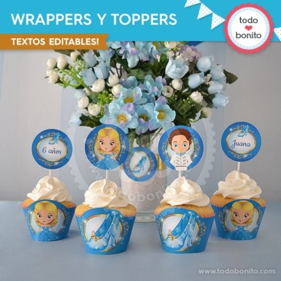 Wrappers y Toppers Imprimibles Cenicieta Todo Bonito