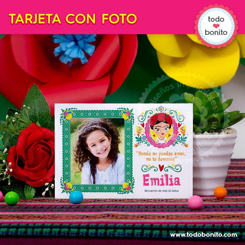 Tarjetas personalizadas para imprimir de Frida Kahlo