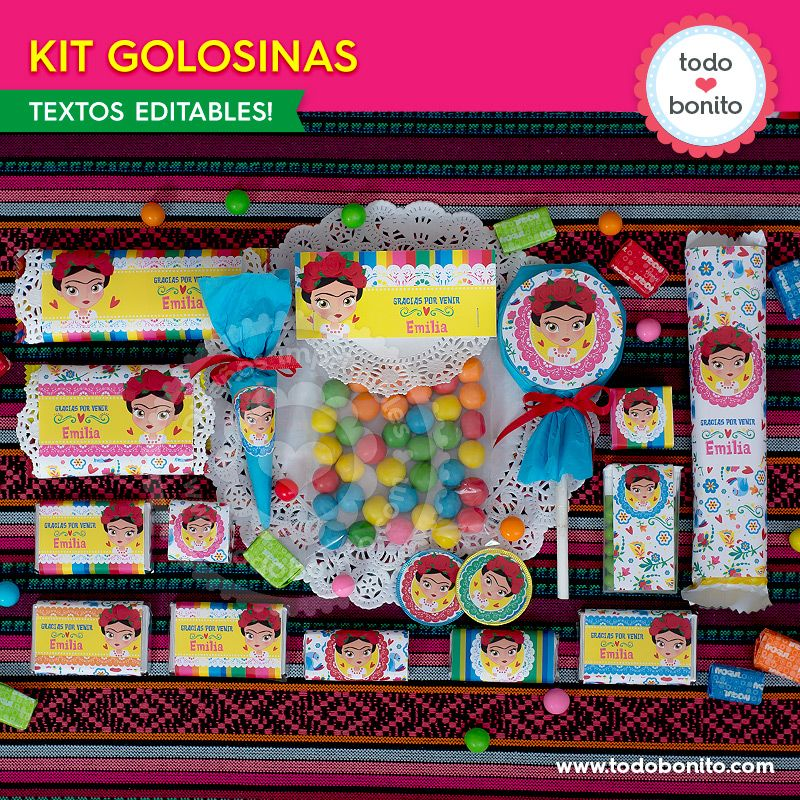 Kit imprimible de etiquetas de golosinas Frida Kahlo