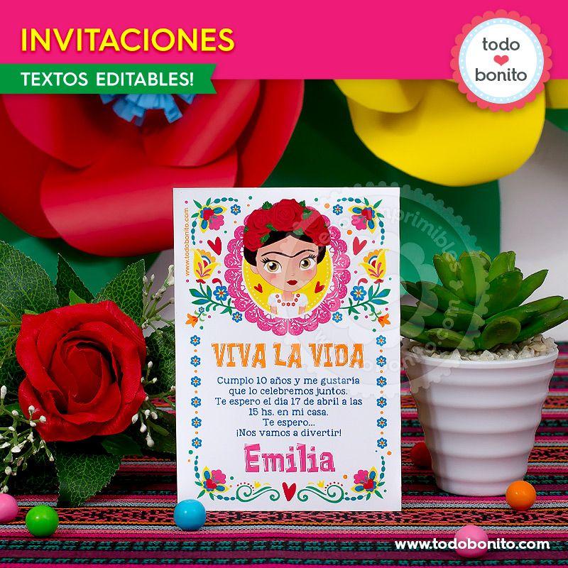 Invitaciones para imprimir de Frida Kahlo