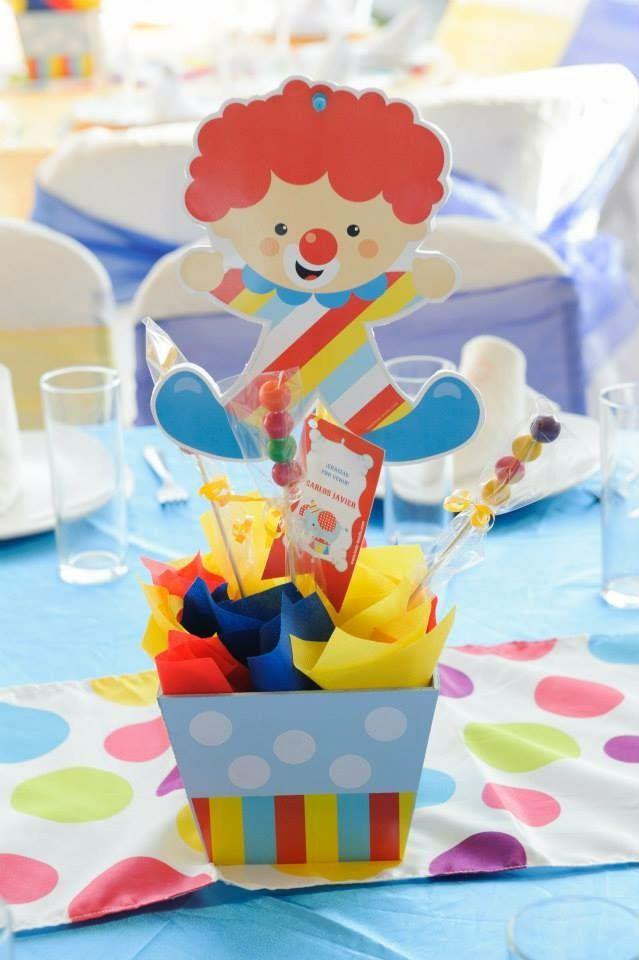 Centro de mesa con Kit de golosinas imprimibles Circo Todo Bonito