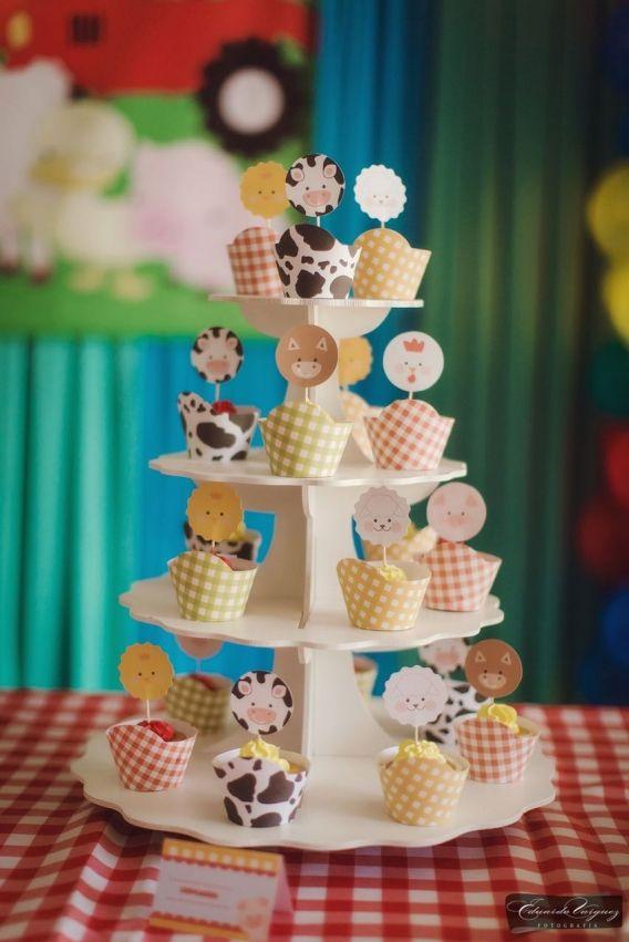 Cupcakes decorados con kit granja Todo Bonito