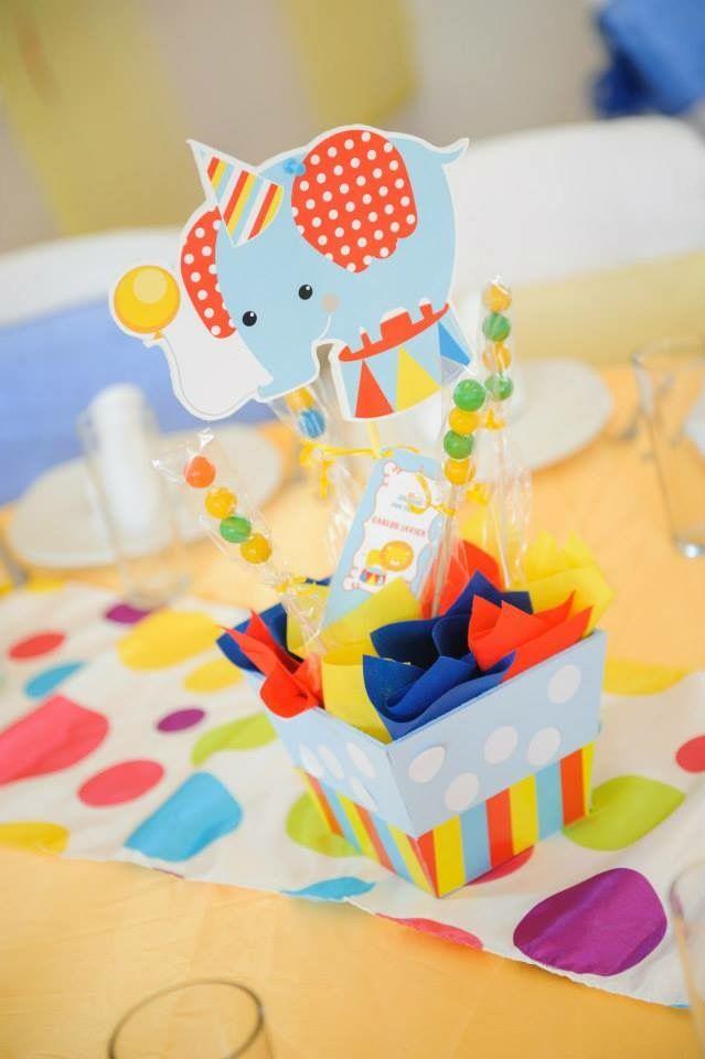 Centros de mesa con Kit de golosinas imprimibles Circo Todo Bonito
