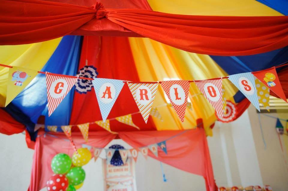 Banderín deco con Kit de golosinas imprimibles Circo Todo Bonito