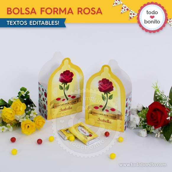 Bolsa Forma Rosa Bella y Bestia Imprimibles Todo Bonito