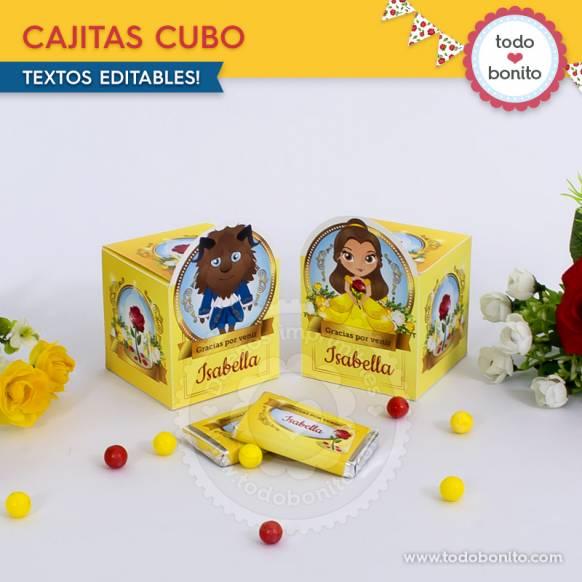 Caja Cubo Bella y Bestia Imprimibles Todo Bonito