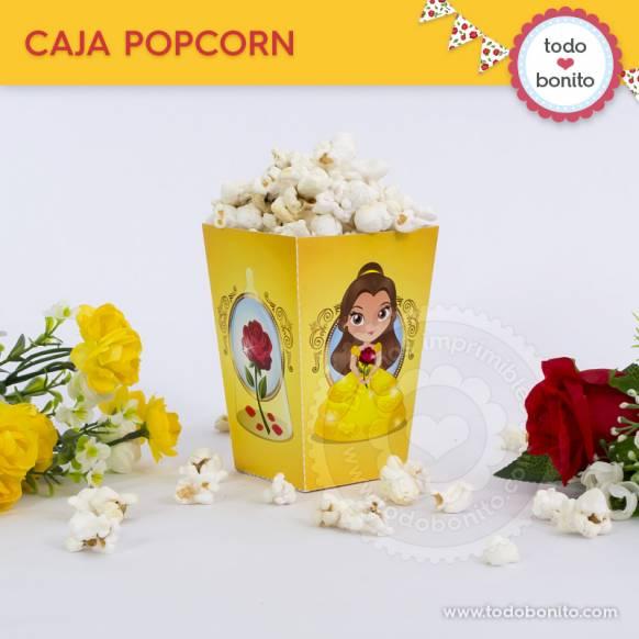 Caja PopCorn Bella y Bestia Imprimibles Todo Bonito