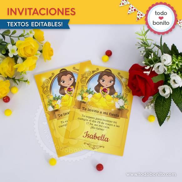 Invitaciones Bella y Bestia Imprimibles Todo Bonito