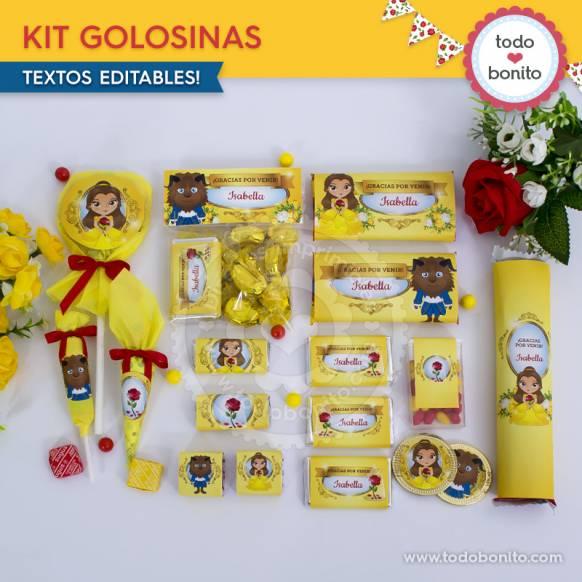 Kit de Golosinas Bella y Bestia Imprimibles Todo Bonito