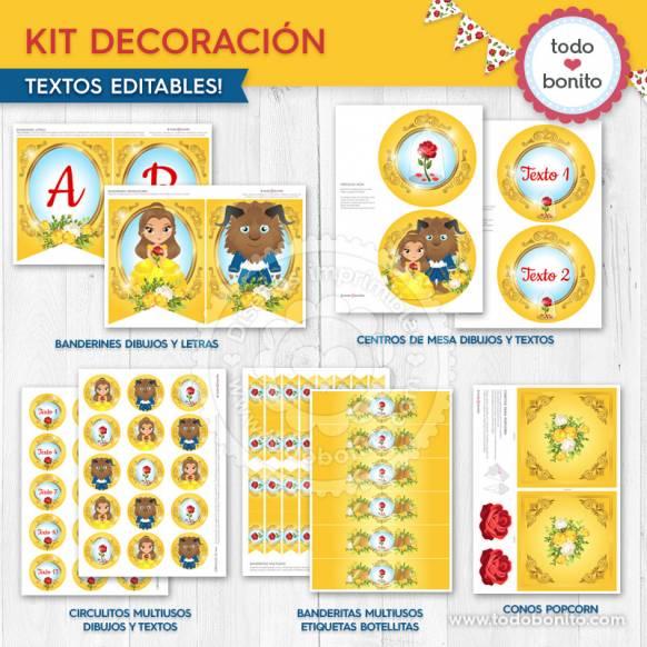 Kit de decoración Bella y Bestia Todo Bonito