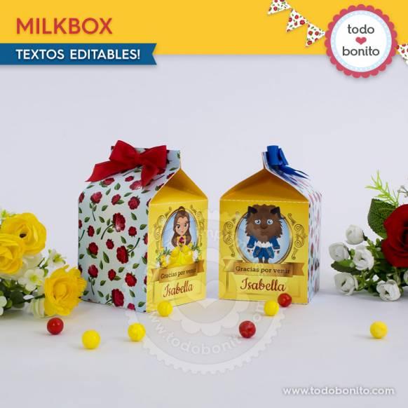 Caja MilkBox Bella y Bestia Imprimibles Todo Bonito