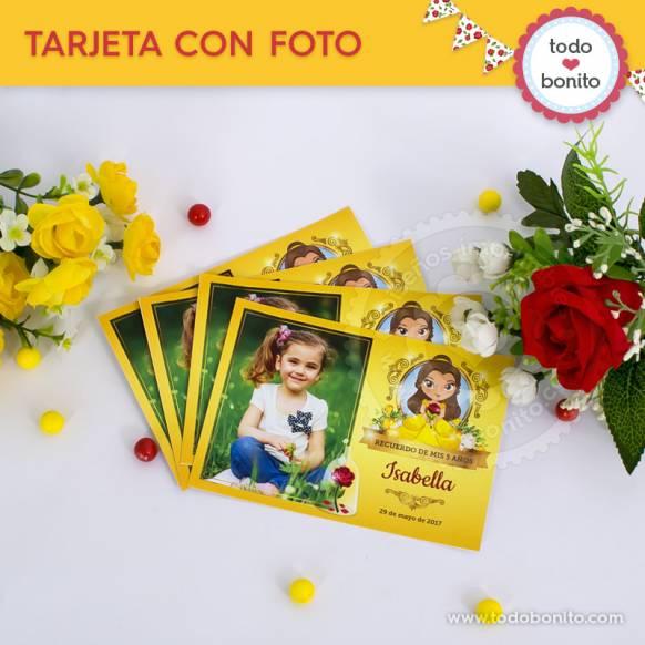 Tarjetas con foto Bella y Bestia Imprimibles Todo Bonito