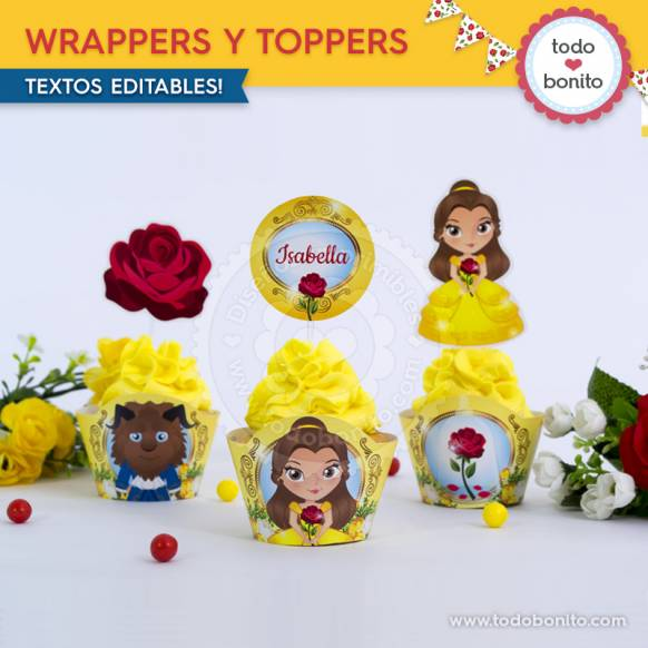 Wrappers y Toppers Bella y Bestia Imprimibles Todo Bonito