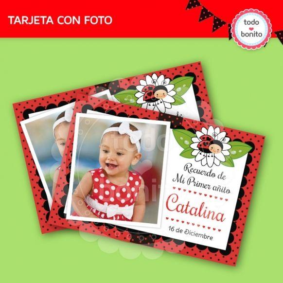 Tarjeta con foto imprimible vaquitas de san antonio
