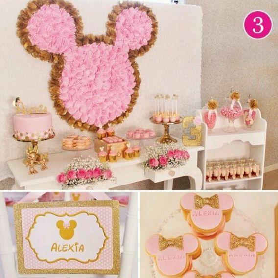 Ideas De Decoración De Fiestas Con Minnie Rosa Y Dorado