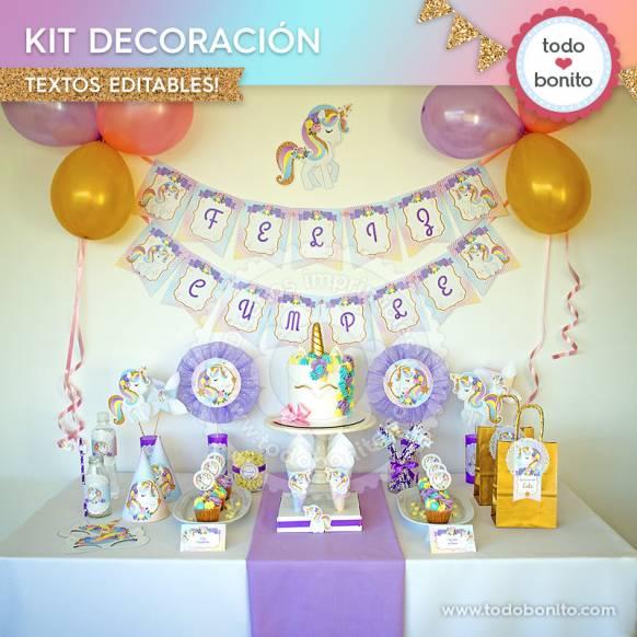Kit de decoración imprimible Unicornios Todo Bonito