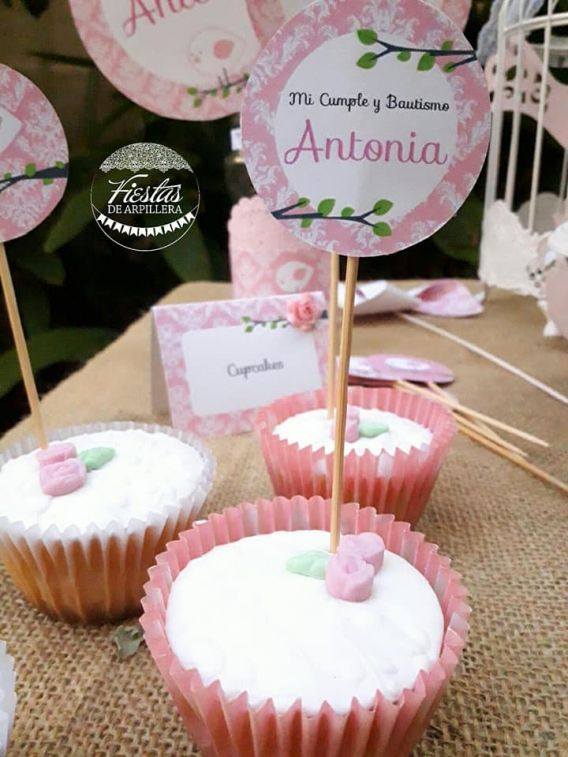 Cupcakes con Kit Pajarito Rosa Todo Bonito