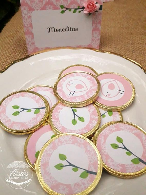Moneditas de chocolate Pajarito Rosa Todo Bonito
