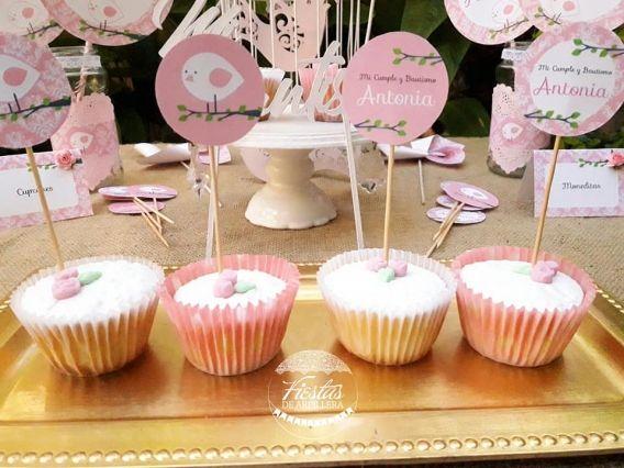 Mesa Dulce y Cupcakes Pajarito Rosa Todo Bonito