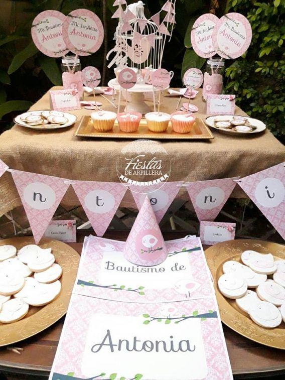 Mesa dulce decorada con Kit Pajarito Rosa Todo Bonito