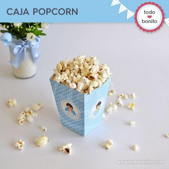 Caja Popcorn Kit Imprimible Alitas Celestes Todo Bonito