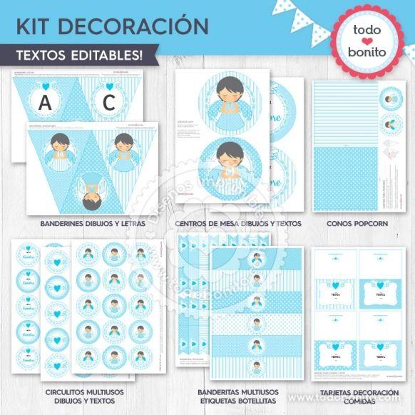 Kit Decoración Imprimible Alitas Celestes Todo Bonito