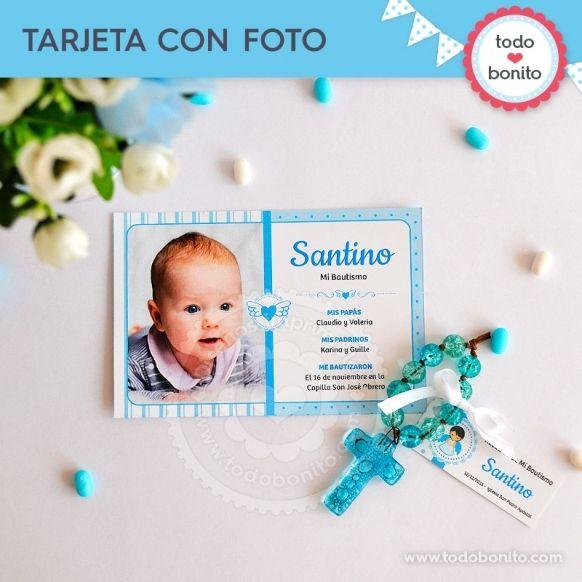 Tarjeta con foto Kit Imprimible Alitas Celestes Todo Bonito