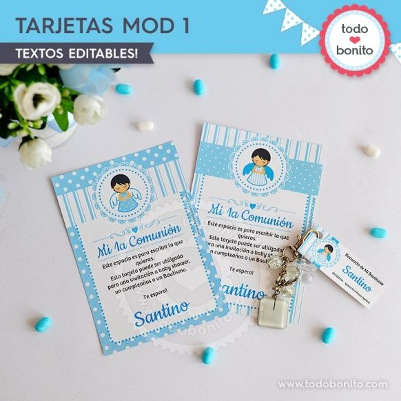 Tarjeta Modelo 1 Kit Imprimible Alitas Celestes Todo Bonito