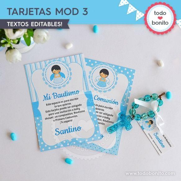 Tarjeta Modelo 3 Kit Imprimible Alitas Celestes Todo Bonito