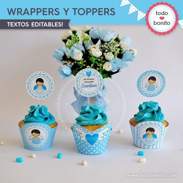 Wrappers y Toppers Kit Imprimible Alitas Celestes Todo Bonito
