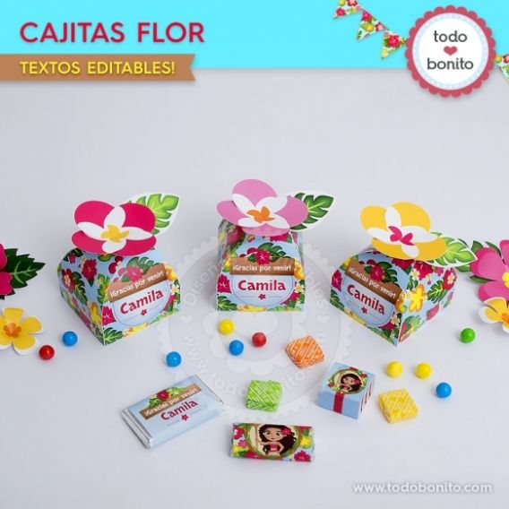 Cajitas flor Kit imprimible Moana Todo Bonito